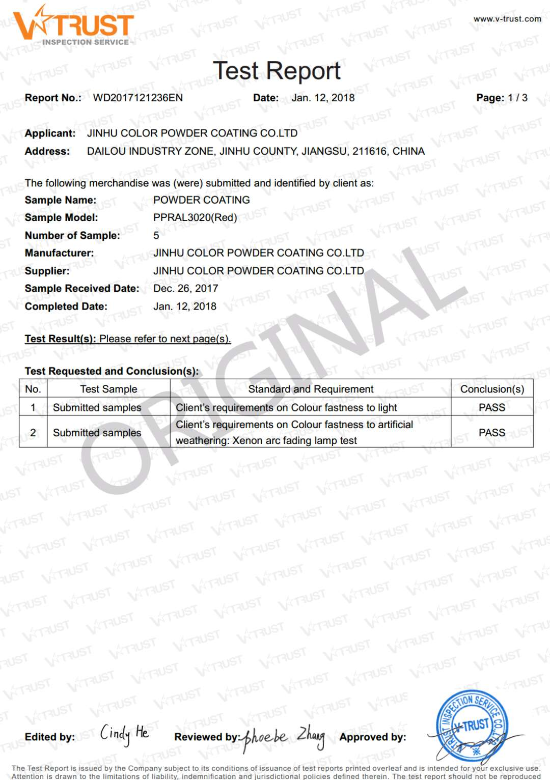 certificate test report of powder coating