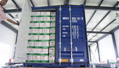 powder coating container loading