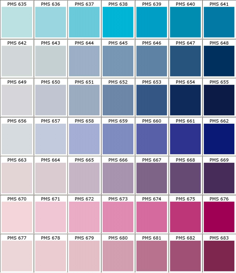 Pantone PMS colors chart - color matching for powder coating - Part 9