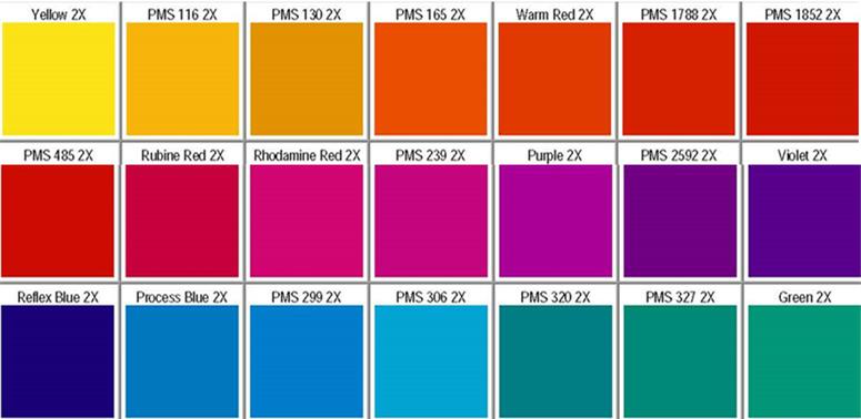 pms_color_chart Yellow 2X PMS 116 2X PMS 130 2X PMS 165 2X Warm Red 2X PMS 1788 2X PMS 1852 2X PMS 485 2X Rubine Red 2X Rhodamine Red 2X PMS 239 2X Purple 2X PMS 2592 2X Violet 2X Reflex Blue 2X Process Blue 2X PMS 299 2X PMS 306 2X PMS 320 2X PMS 327 2X Green 2X